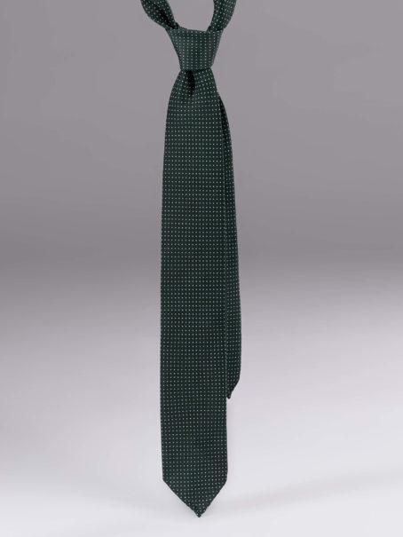 Cravata matase cu model verde cu alb