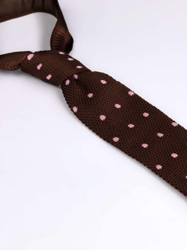 Cravata matase brodata maro cu roz