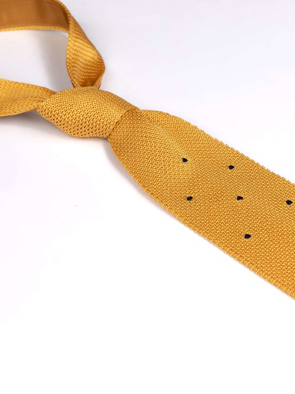 Cravata matase brodata galbena cu negru