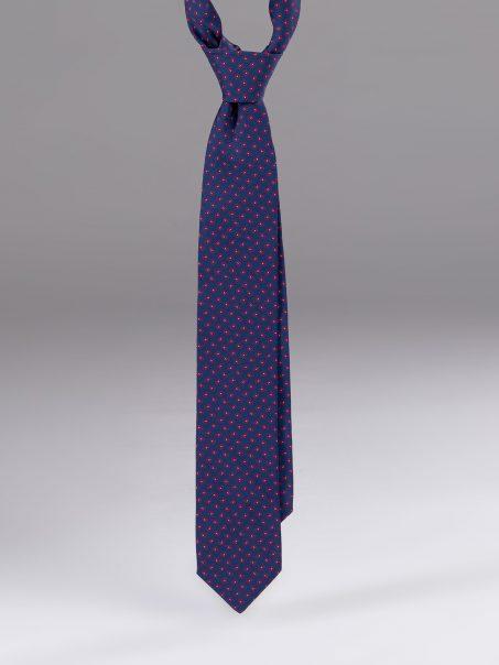 Cravata matase model paisley albastru cu rosu