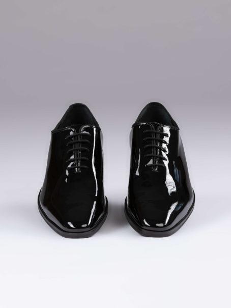 Pantofi oxford whole cut negri lac