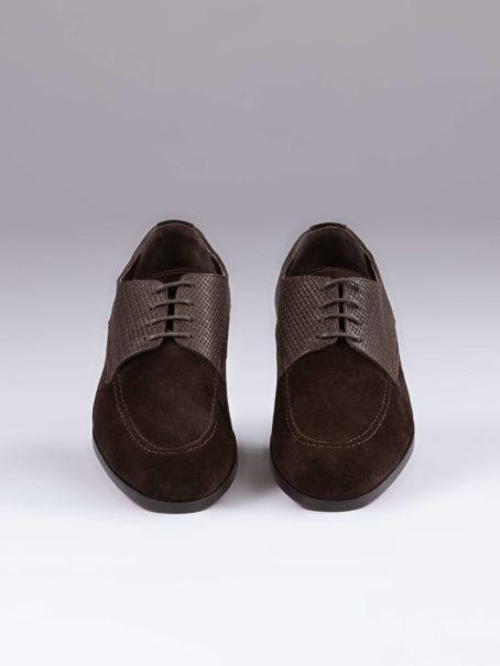 Pantofi derby maro piele intoarsa