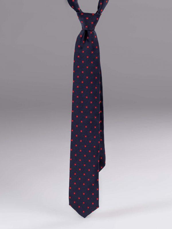 Cravata matase cu model albastru cu rosu
