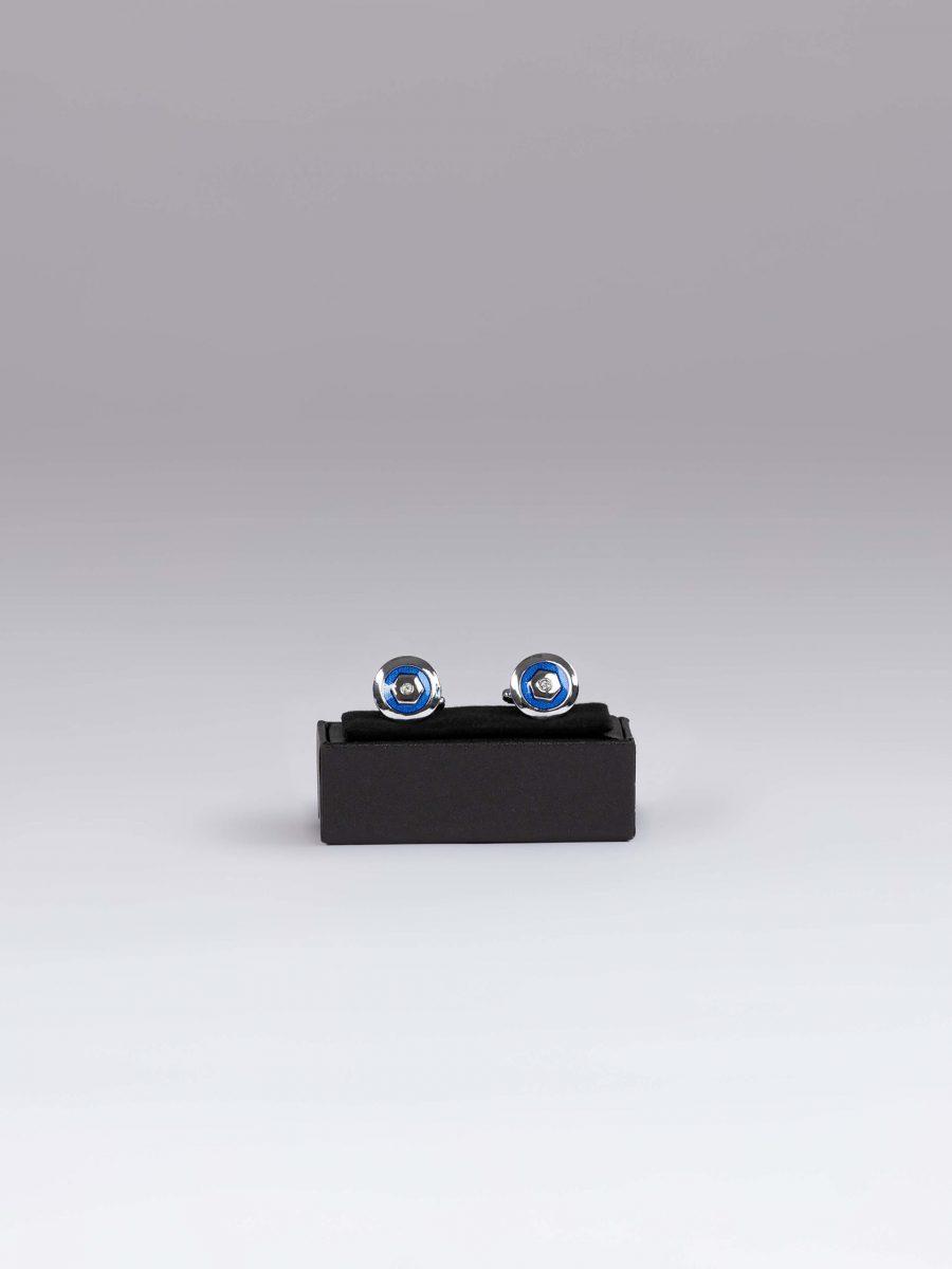 Butoni scut albastru si argintiu