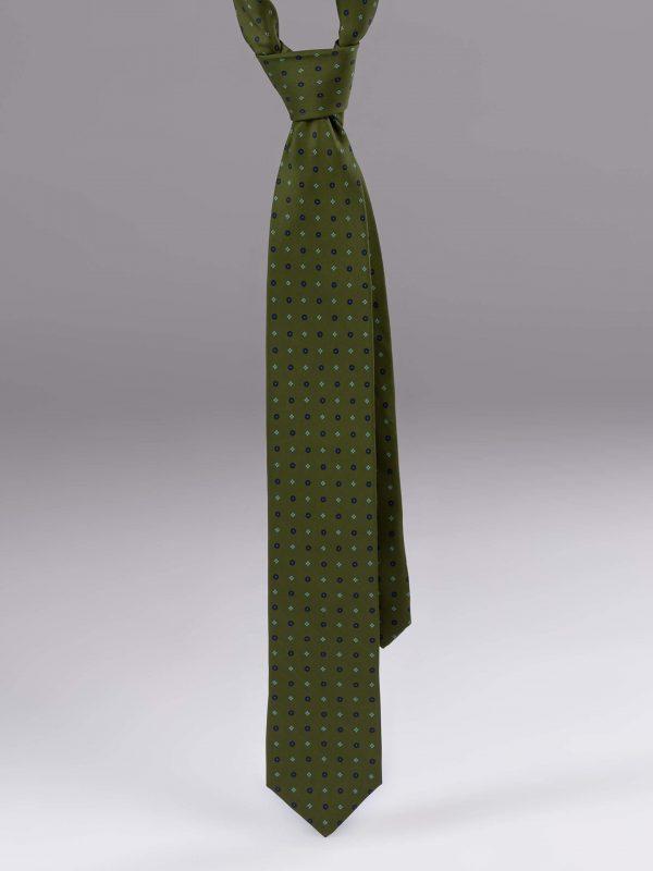Cravata matase cu model verde cu albastru